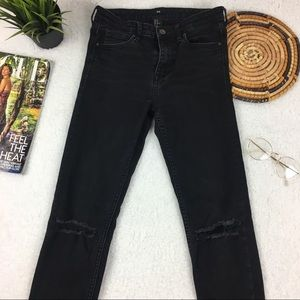 H&M Washed Black Mid-Waist Knee Rip Skinny Jeans